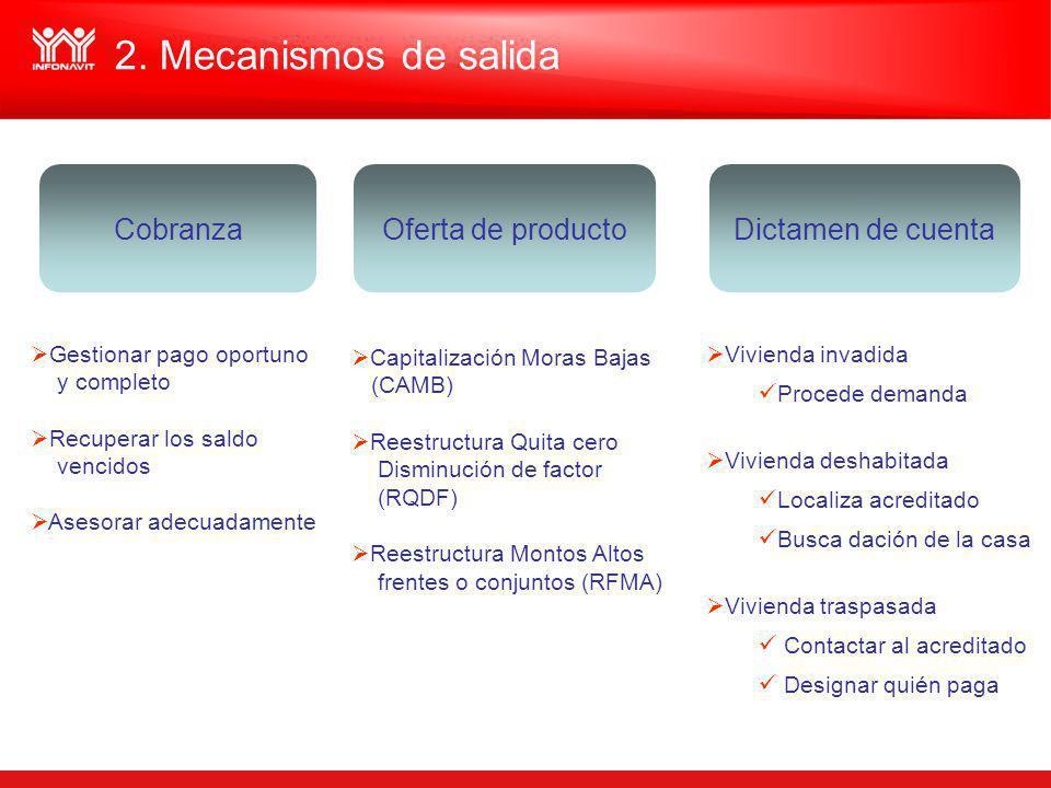2. Mecanismos de salida Cobranza Oferta de producto Dictamen de cuenta