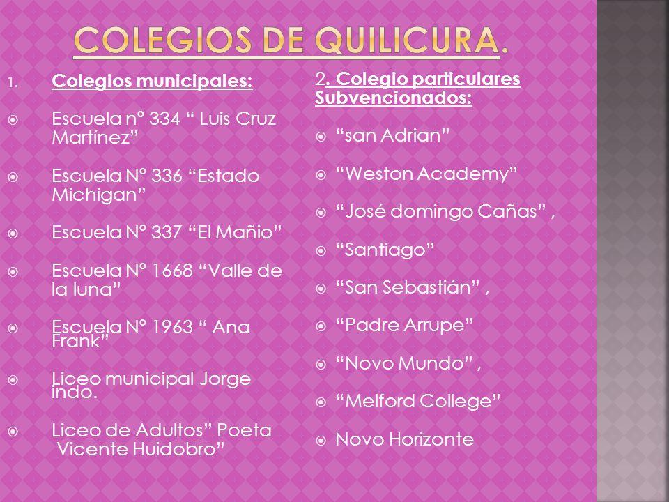 Colegios de quilicura. Colegios municipales: 2. Colegio particulares
