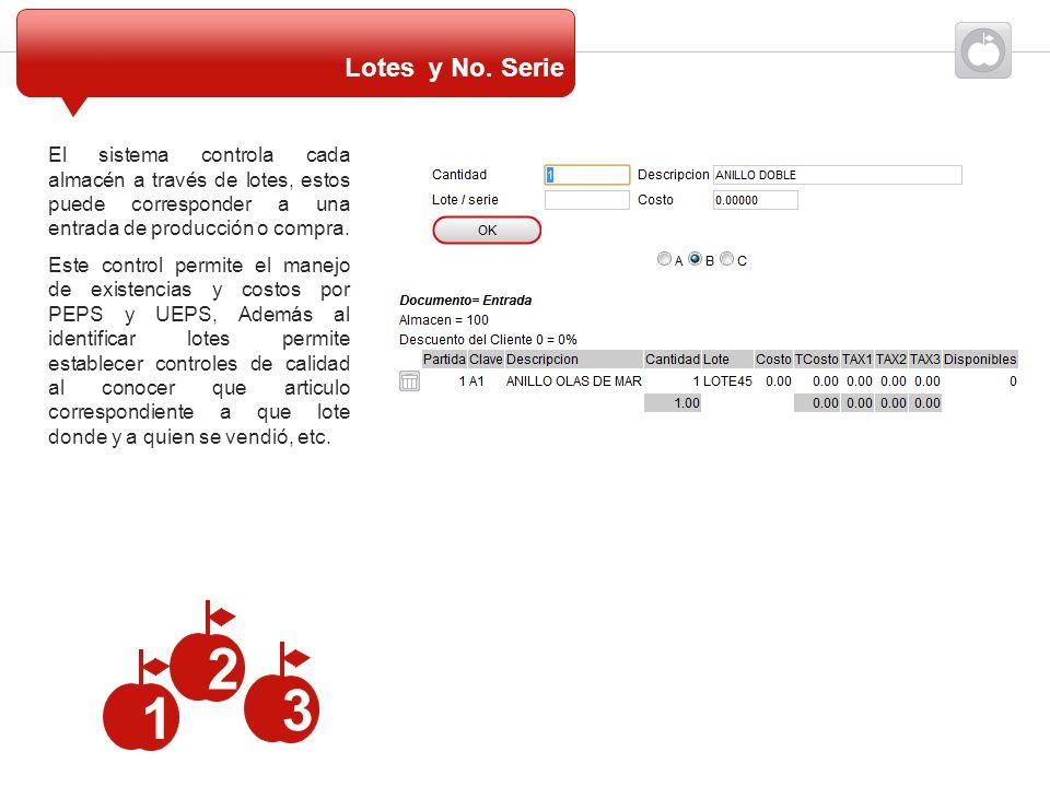 Lotes y No. Serie El sistema controla cada almacén a través de lotes, estos puede corresponder a una entrada de producción o compra.