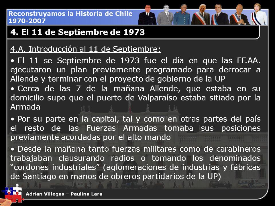 4. El 11 de Septiembre de 1973 4.A. Introducción al 11 de Septiembre: