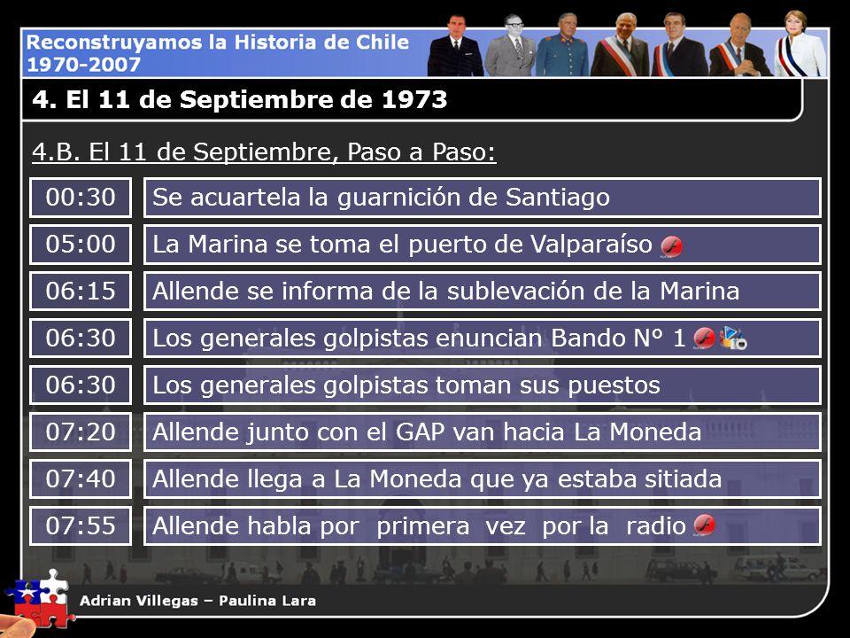 4. El 11 de Septiembre de 1973 4.B. El 11 de Septiembre, Paso a Paso: 00:30. Se acuartela la guarnición de Santiago.