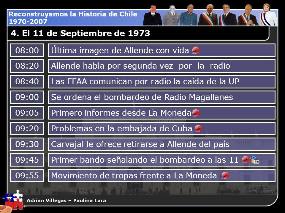4. El 11 de Septiembre de 197308:00. Última imagen de Allende con vida. 08:20. Allende habla por segunda vez por la radio.