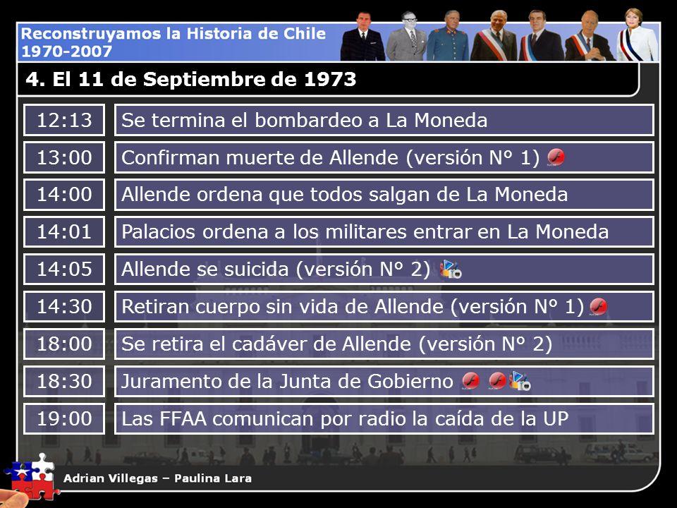 4. El 11 de Septiembre de 197312:13. Se termina el bombardeo a La Moneda. 13:00. Confirman muerte de Allende (versión N° 1)