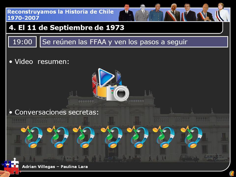 4. El 11 de Septiembre de 1973 19:00. Se reúnen las FFAA y ven los pasos a seguir. Video resumen: