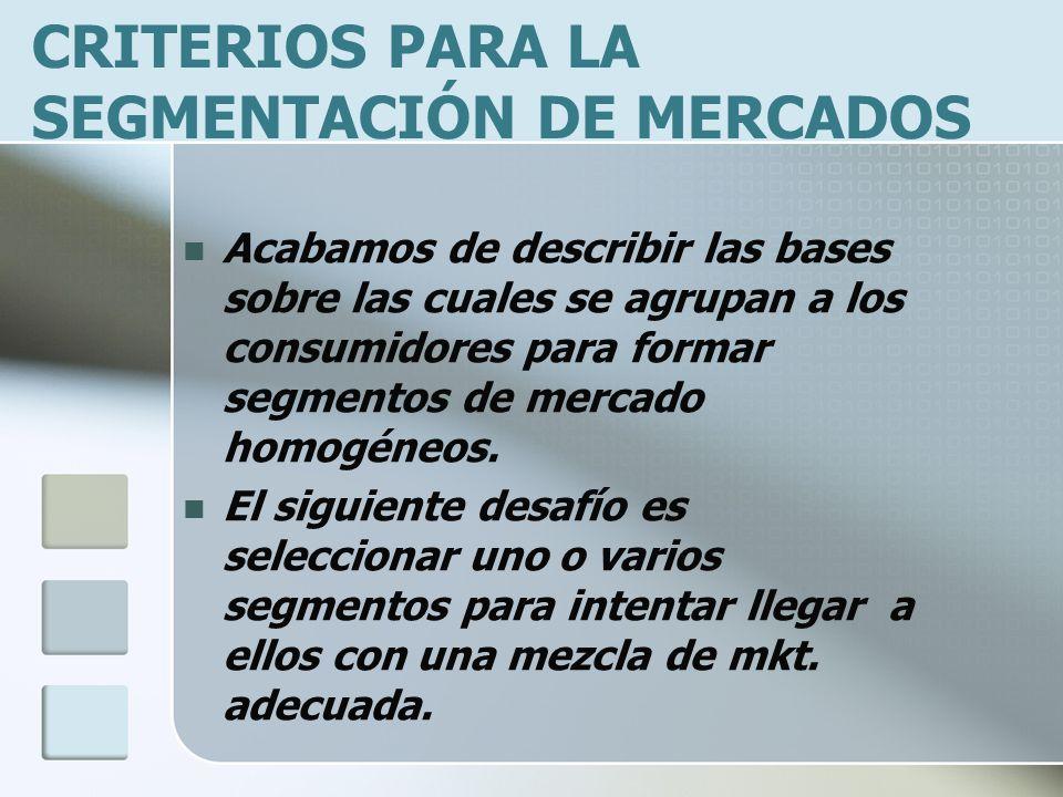 CRITERIOS PARA LA SEGMENTACIÓN DE MERCADOS