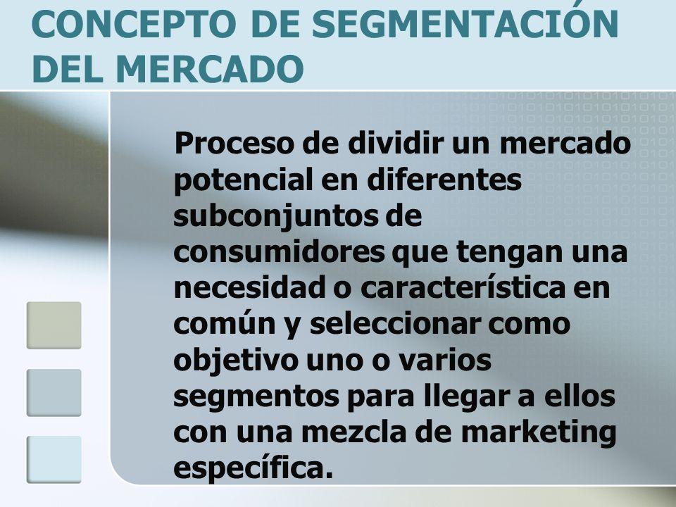 CONCEPTO DE SEGMENTACIÓN DEL MERCADO