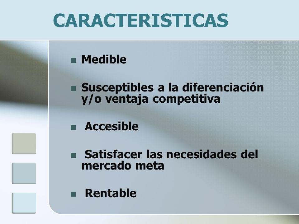 CARACTERISTICAS Medible