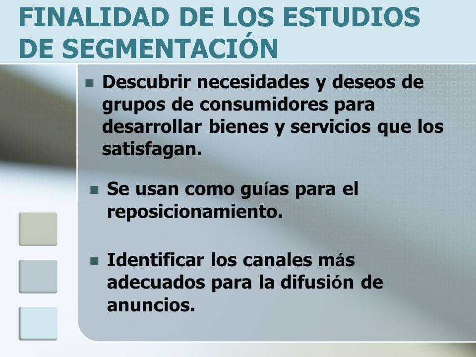 FINALIDAD DE LOS ESTUDIOS DE SEGMENTACIÓN