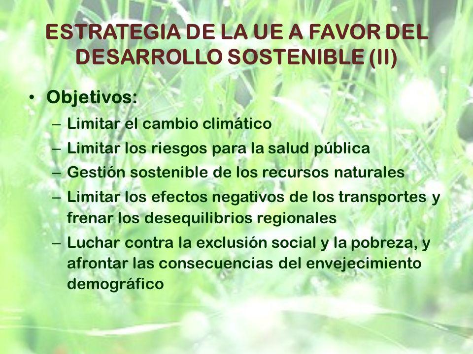 ESTRATEGIA DE LA UE A FAVOR DEL DESARROLLO SOSTENIBLE (II)
