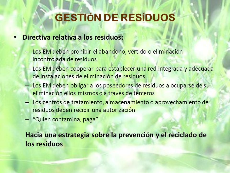 GESTIÓN DE RESÍDUOS Directiva relativa a los residuos: