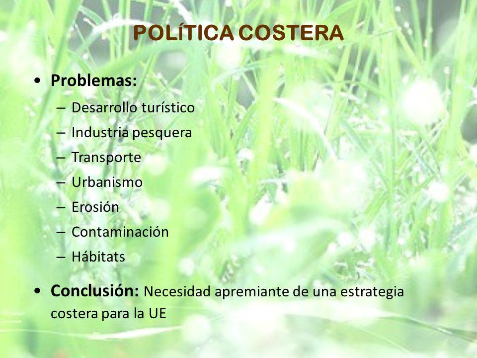 POLÍTICA COSTERA Problemas: