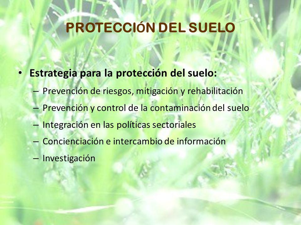 PROTECCIÓN DEL SUELO Estrategia para la protección del suelo: