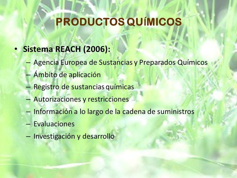 PRODUCTOS QUÍMICOS Sistema REACH (2006):