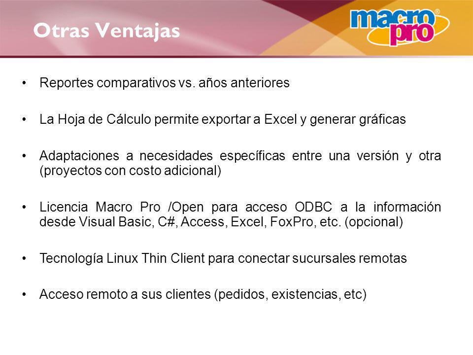 Otras Ventajas Reportes comparativos vs. años anteriores