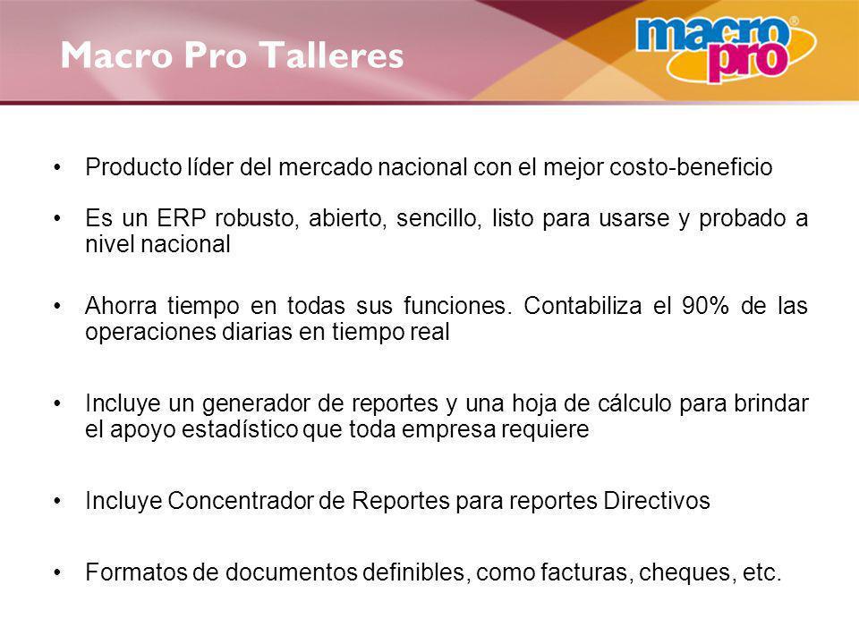 Macro Pro Talleres Producto líder del mercado nacional con el mejor costo-beneficio.