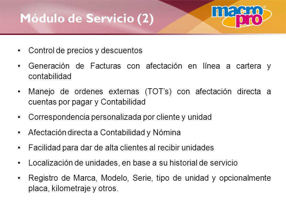 Módulo de Servicio (2) Control de precios y descuentos