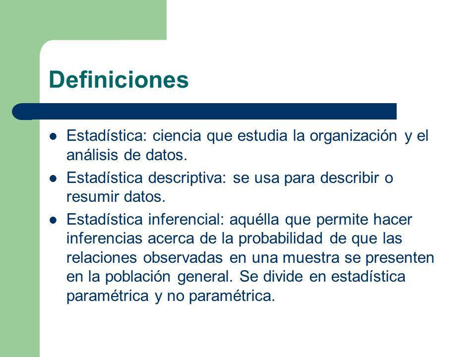Definiciones Estadística: ciencia que estudia la organización y el análisis de datos.