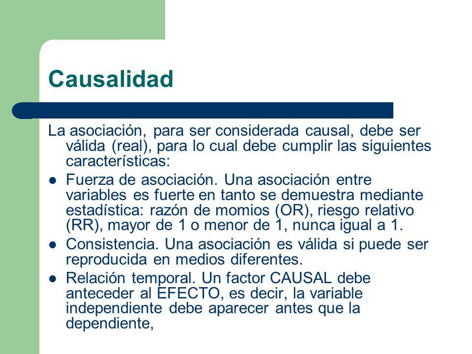 Causalidad La asociación, para ser considerada causal, debe ser válida (real), para lo cual debe cumplir las siguientes características: