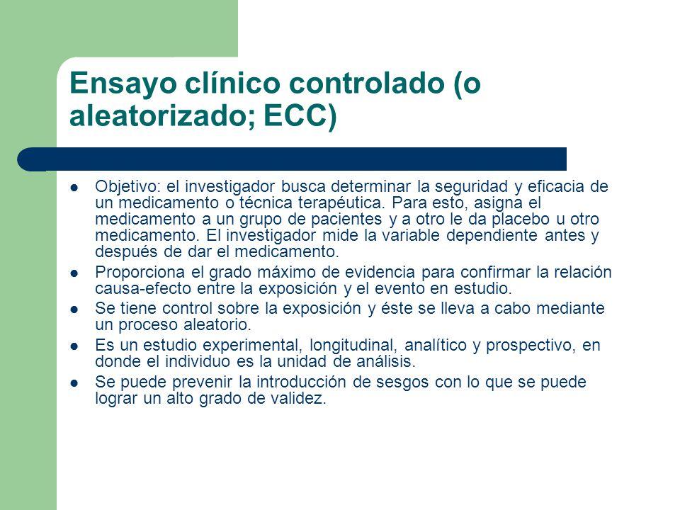 Ensayo clínico controlado (o aleatorizado; ECC)