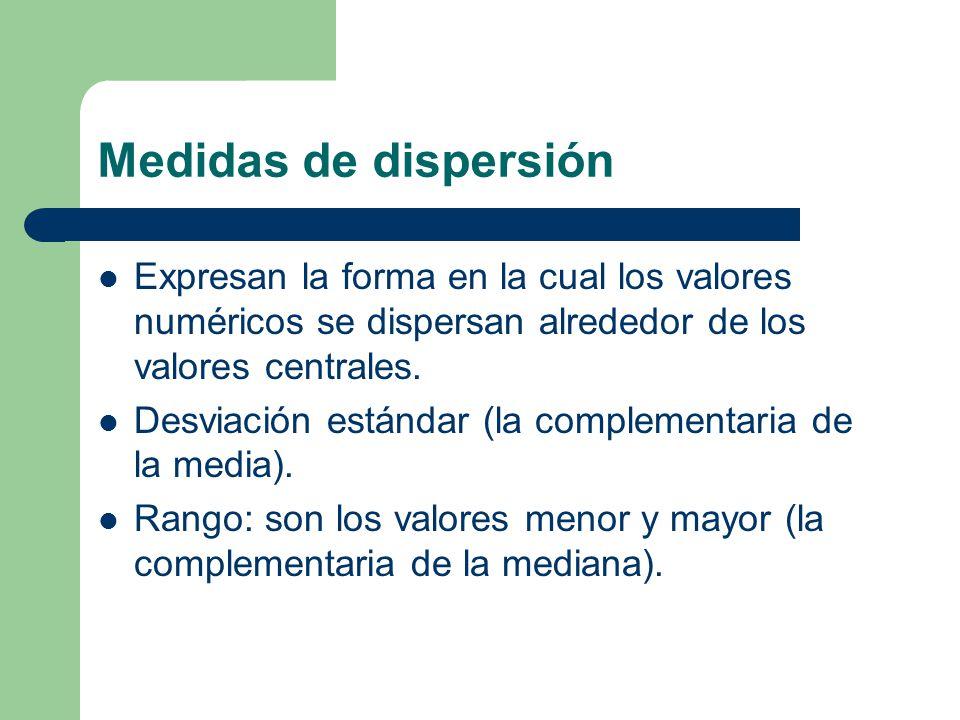 Medidas de dispersión Expresan la forma en la cual los valores numéricos se dispersan alrededor de los valores centrales.
