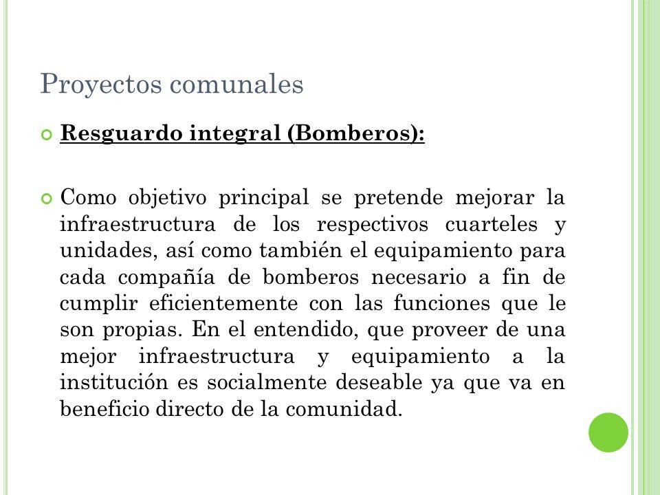 Proyectos comunales Resguardo integral (Bomberos):