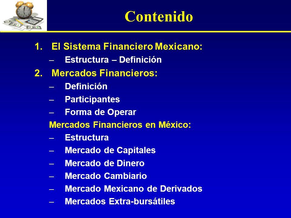 Contenido El Sistema Financiero Mexicano: Mercados Financieros: