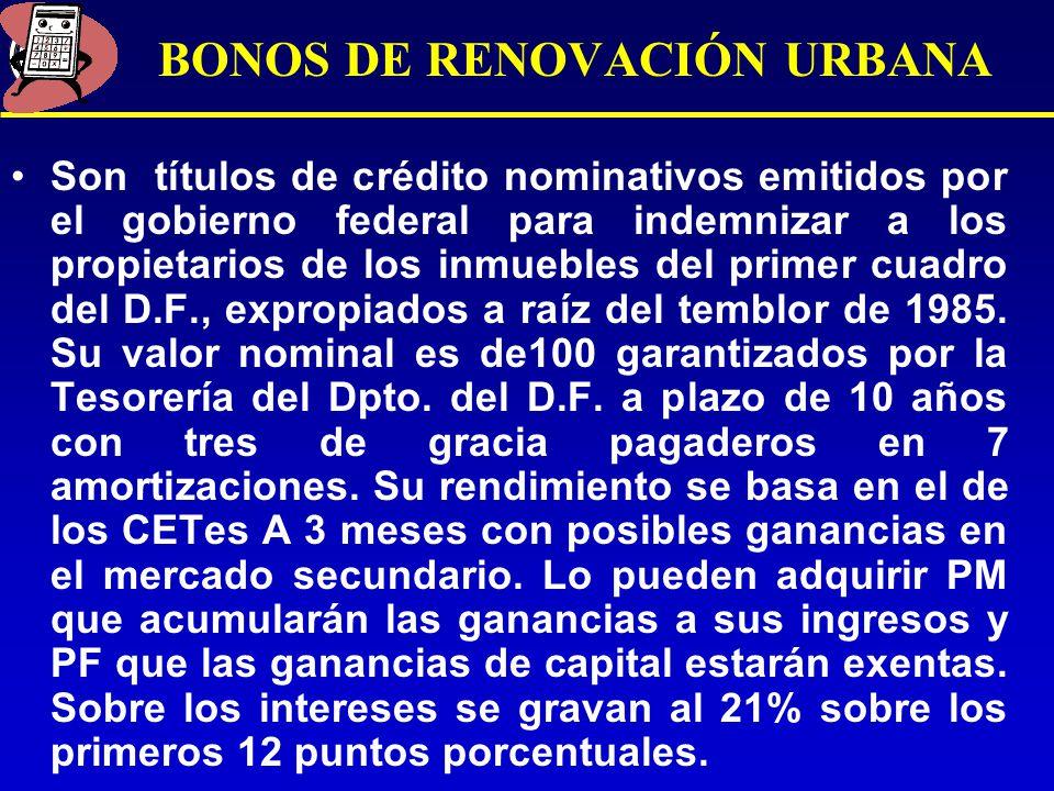 BONOS DE RENOVACIÓN URBANA