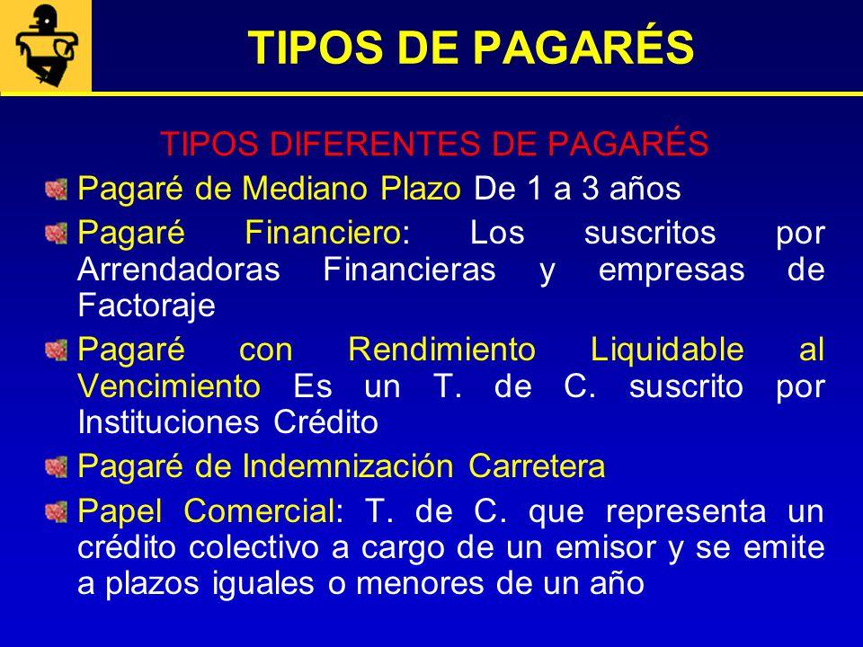 TIPOS DIFERENTES DE PAGARÉS