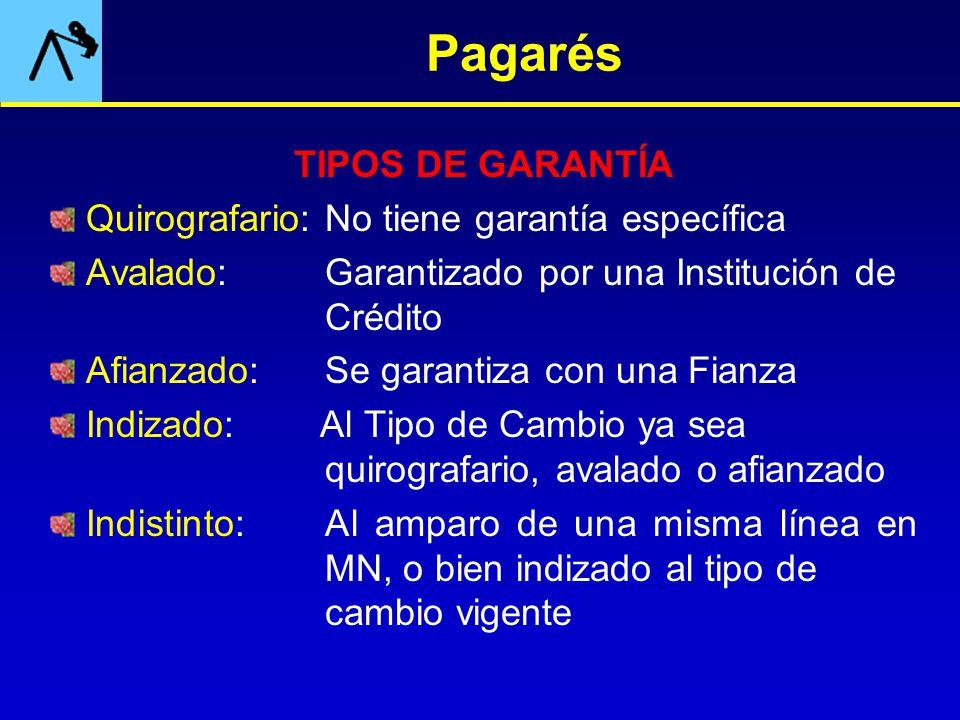 Pagarés TIPOS DE GARANTÍA Quirografario: No tiene garantía específica