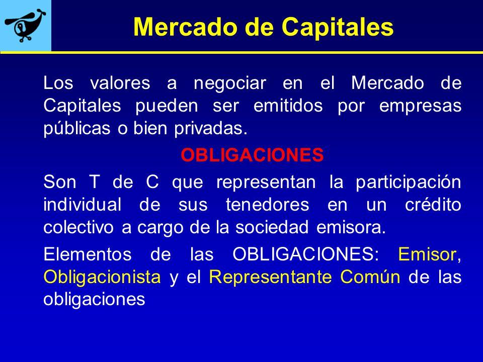 Mercado de Capitales Los valores a negociar en el Mercado de Capitales pueden ser emitidos por empresas públicas o bien privadas.