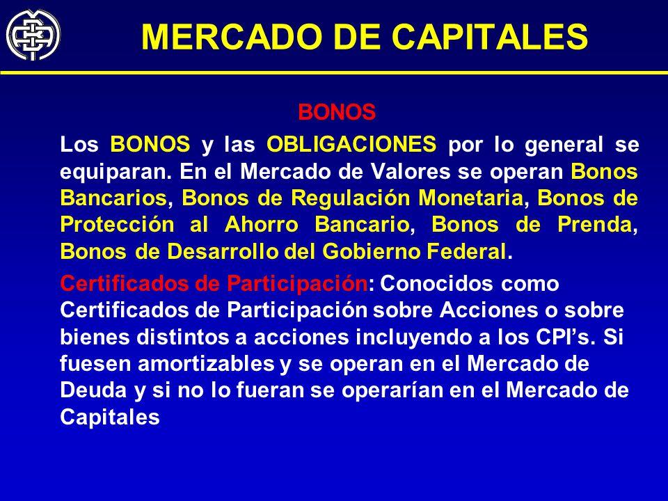 MERCADO DE CAPITALES BONOS