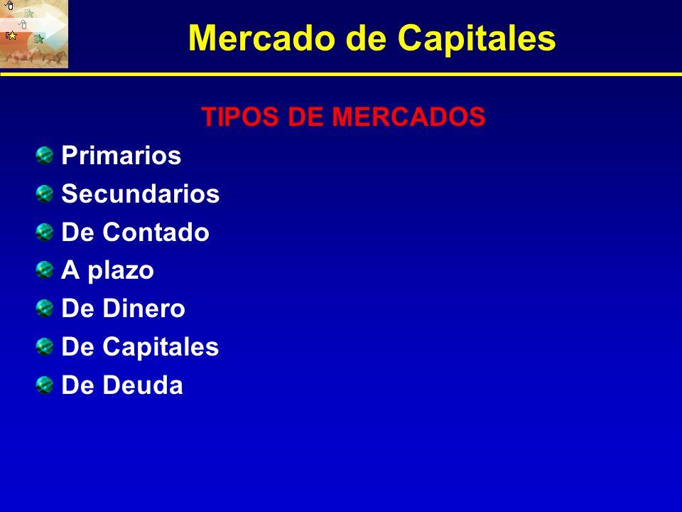 Mercado de Capitales TIPOS DE MERCADOS Primarios Secundarios