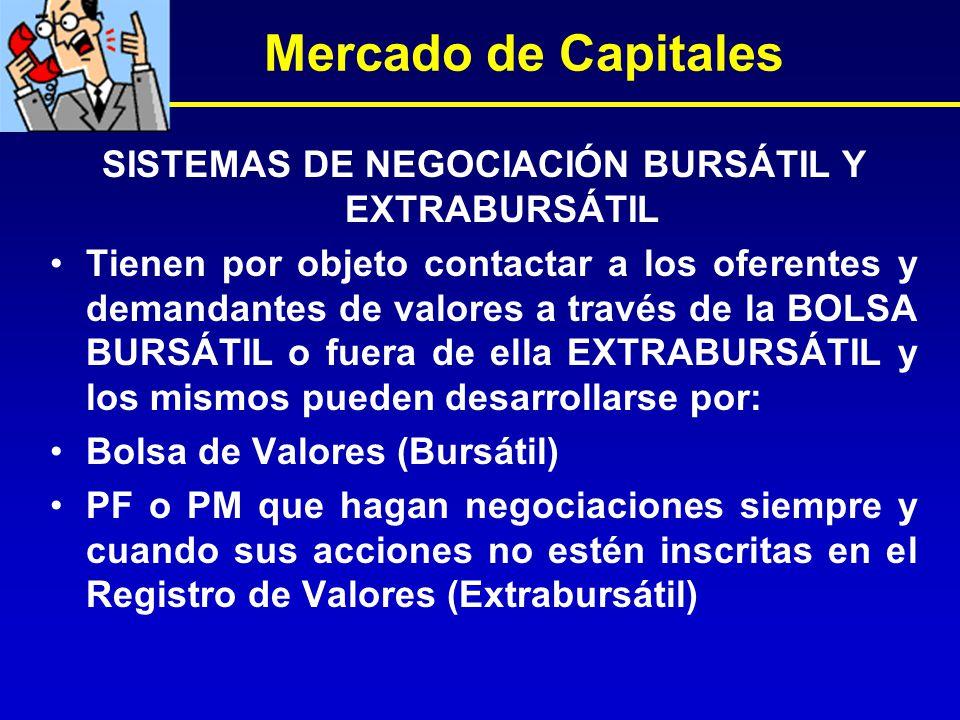 SISTEMAS DE NEGOCIACIÓN BURSÁTIL Y EXTRABURSÁTIL