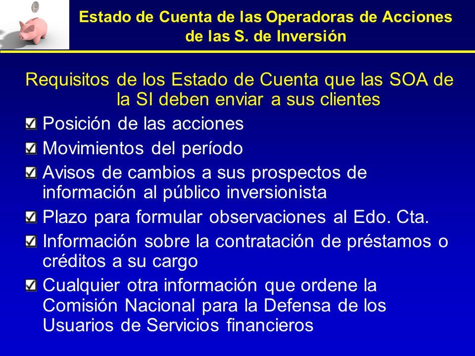 Estado de Cuenta de las Operadoras de Acciones de las S. de Inversión