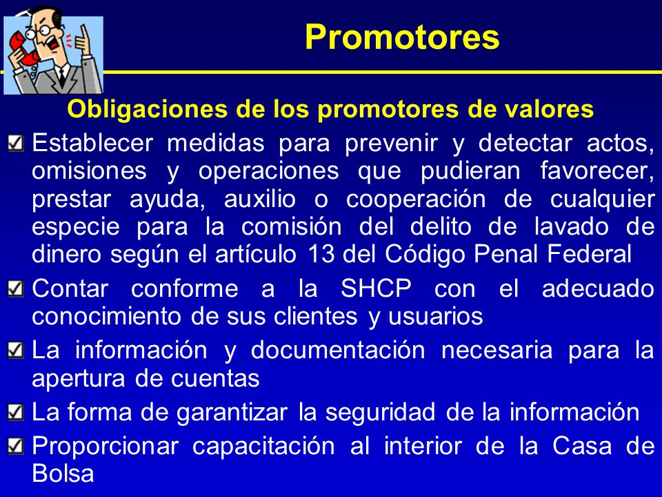 Obligaciones de los promotores de valores