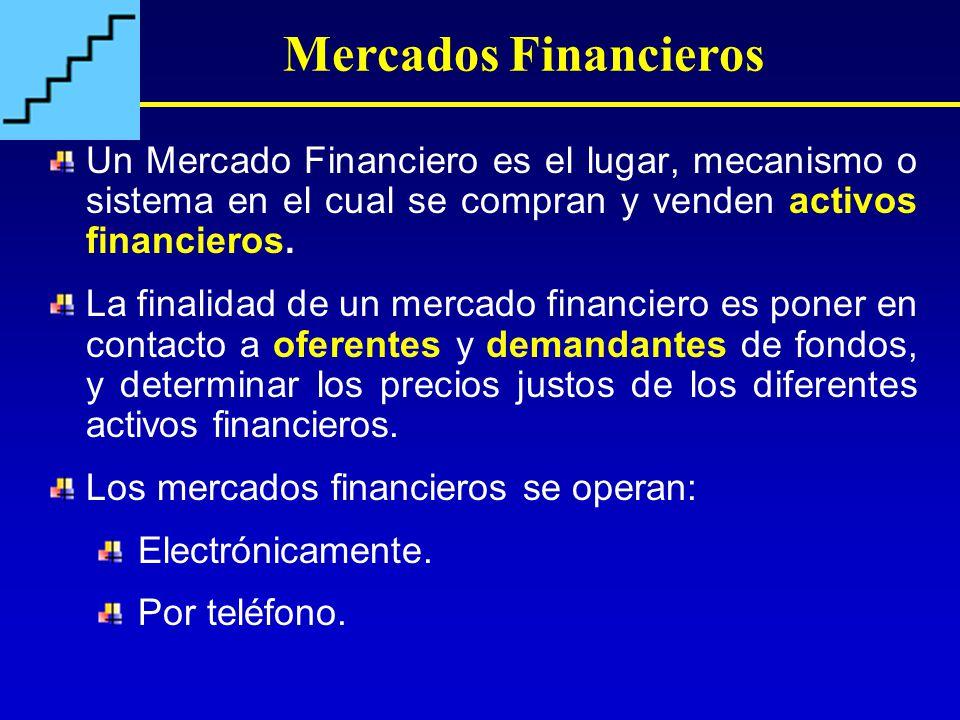 Mercados Financieros Un Mercado Financiero es el lugar, mecanismo o sistema en el cual se compran y venden activos financieros.