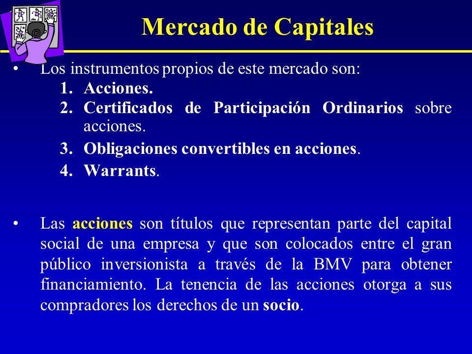 Mercado de Capitales Los instrumentos propios de este mercado son: