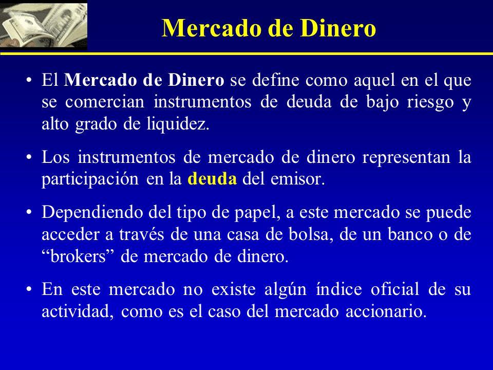 Mercado de Dinero El Mercado de Dinero se define como aquel en el que se comercian instrumentos de deuda de bajo riesgo y alto grado de liquidez.