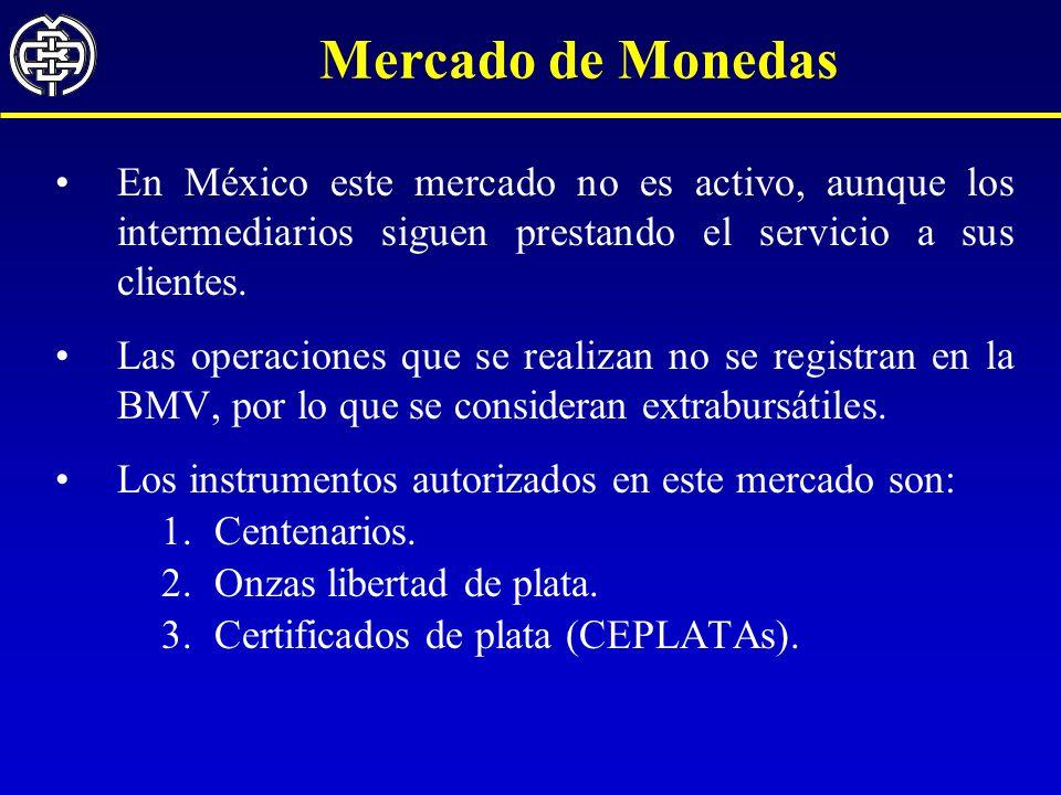 Mercado de Monedas En México este mercado no es activo, aunque los intermediarios siguen prestando el servicio a sus clientes.