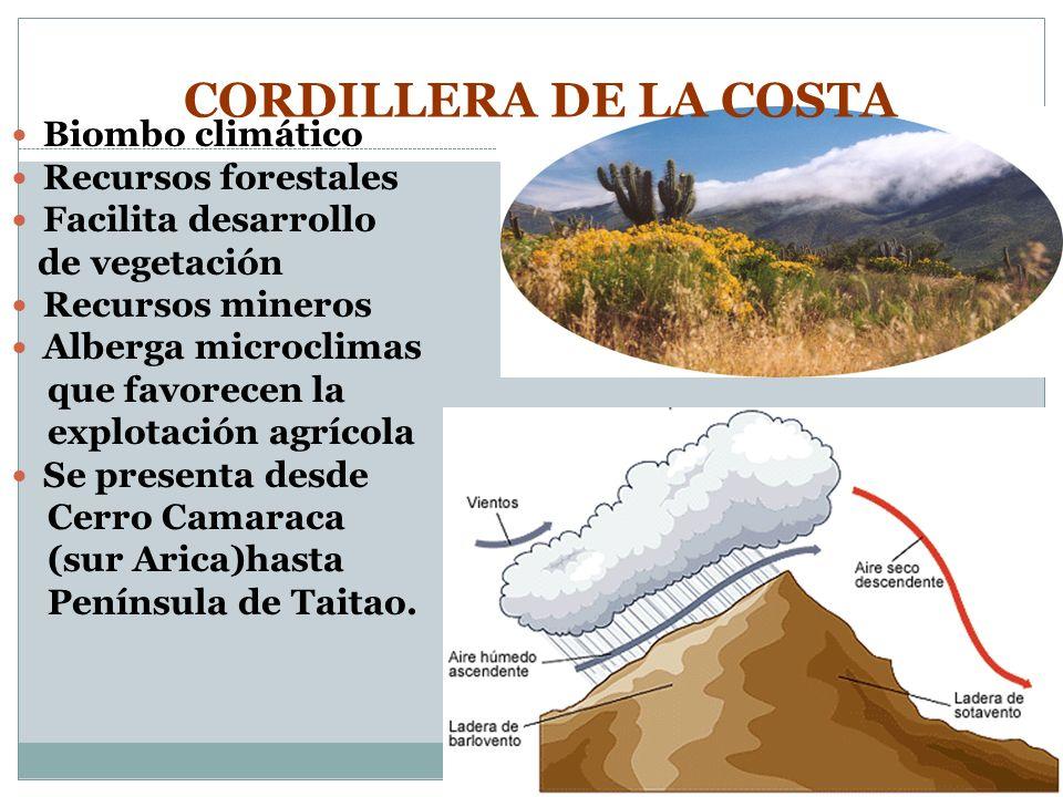 CORDILLERA DE LA COSTA Biombo climático Recursos forestales