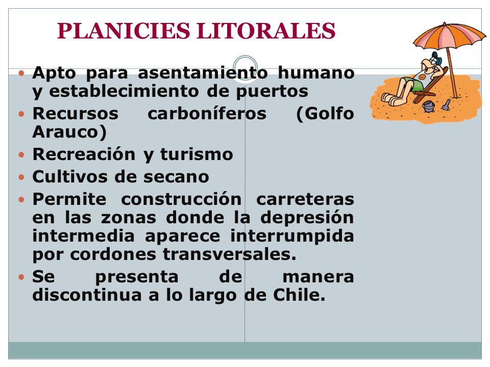 PLANICIES LITORALES Apto para asentamiento humano y establecimiento de puertos. Recursos carboníferos (Golfo Arauco)