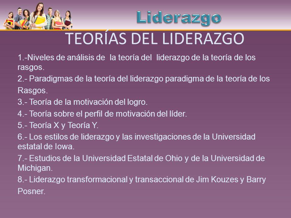 TEORÍAS DEL LIDERAZGO Liderazgo