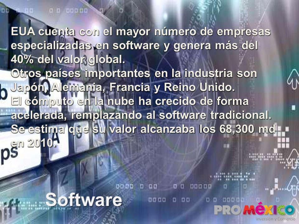 EUA cuenta con el mayor número de empresas especializadas en software y genera más del 40% del valor global.