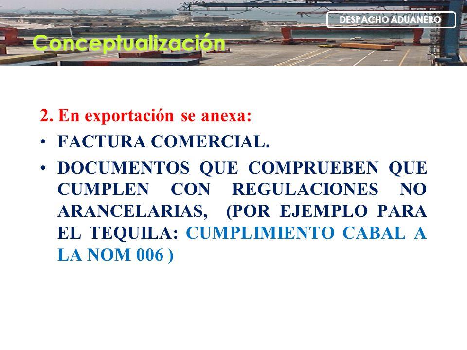 Conceptualización 2. En exportación se anexa: FACTURA COMERCIAL.