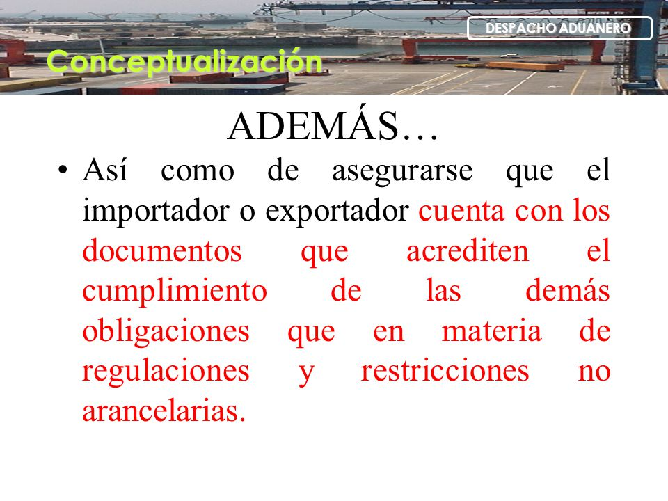 Conceptualización DESPACHO ADUANERO. ADEMÁS…