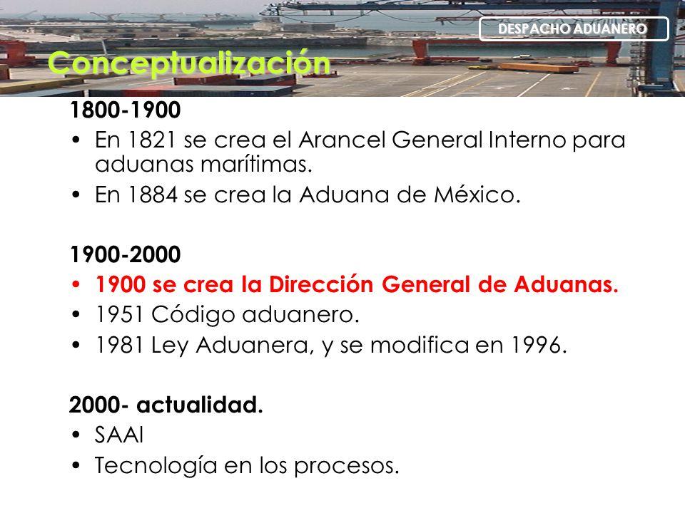 Conceptualización DESPACHO ADUANERO. 1800-1900. En 1821 se crea el Arancel General Interno para aduanas marítimas.