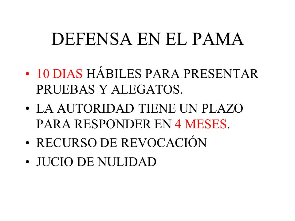 DEFENSA EN EL PAMA 10 DIAS HÁBILES PARA PRESENTAR PRUEBAS Y ALEGATOS.