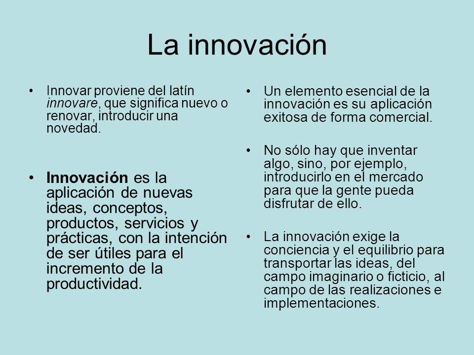 La innovación Innovar proviene del latín innovare, que significa nuevo o renovar, introducir una novedad.