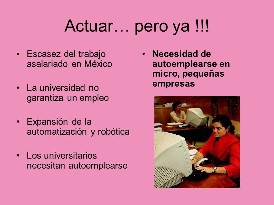 Actuar… pero ya !!! Escasez del trabajo asalariado en México