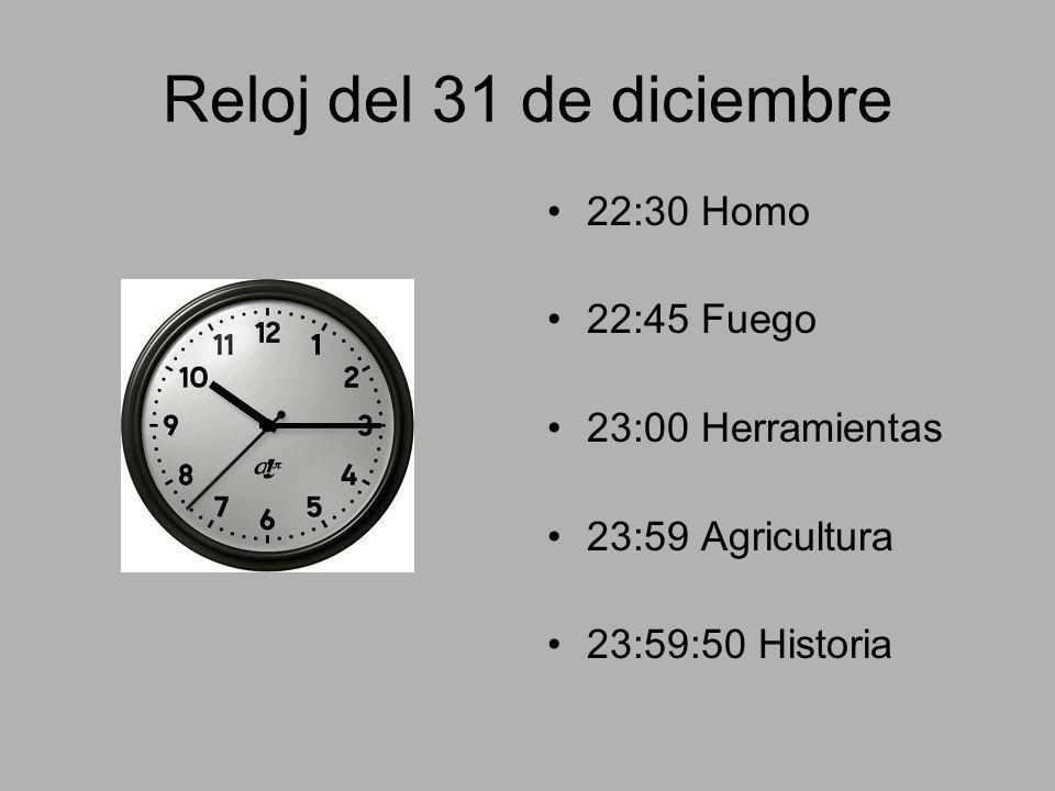 Reloj del 31 de diciembre 22:30 Homo 22:45 Fuego 23:00 Herramientas